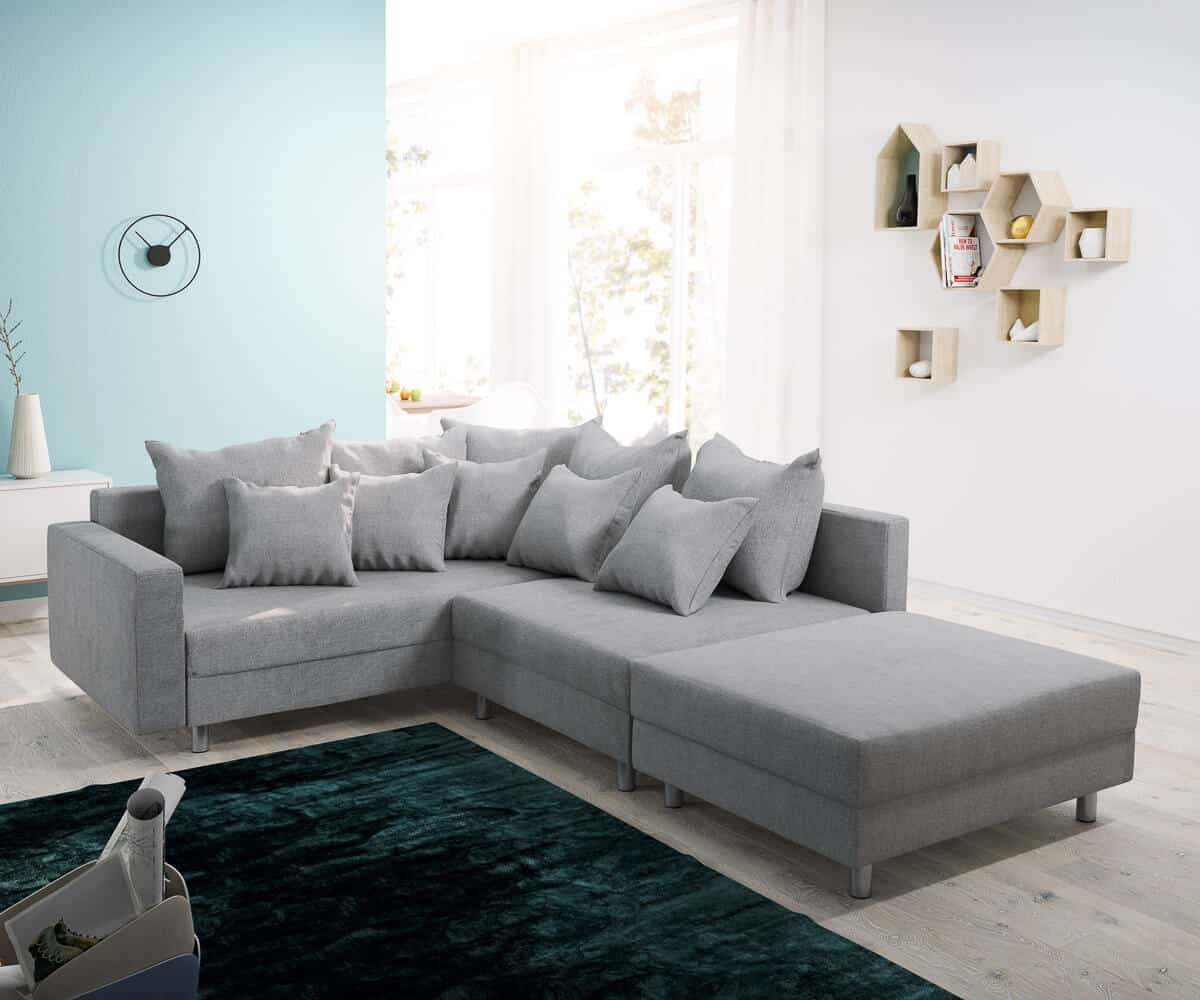 delife ecksofa clovis grau flachgewebe hocker armlehne. Black Bedroom Furniture Sets. Home Design Ideas