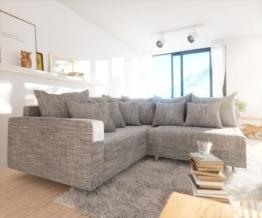 DELIFE Ecksofa Clovis Hellgrau Strukturstoff Armlehne Ottomane Links Modulsofa, Design Ecksofas, Couch Loft, Modulsofa, modular