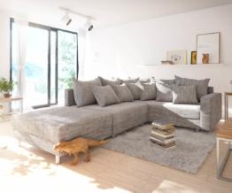 DELIFE Ecksofa Clovis Hellgrau Strukturstoff Hocker Armlehne Ottomane Rechts Modulsofa, Design Ecksofas, Couch Loft, Modulsofa, modular