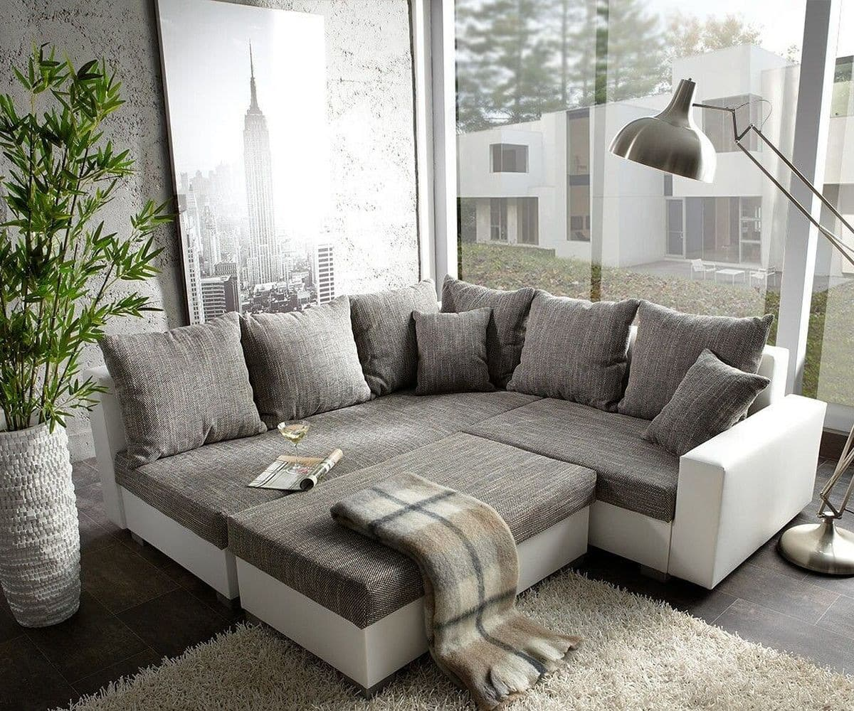 delife ecksofa lavello 210 210 cm grau weiss inklusive hocker ecksofas. Black Bedroom Furniture Sets. Home Design Ideas