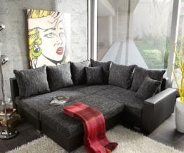 DELIFE Ecksofa Lavello 210x210 Schwarz Couch mit Hocker, Ecksofas