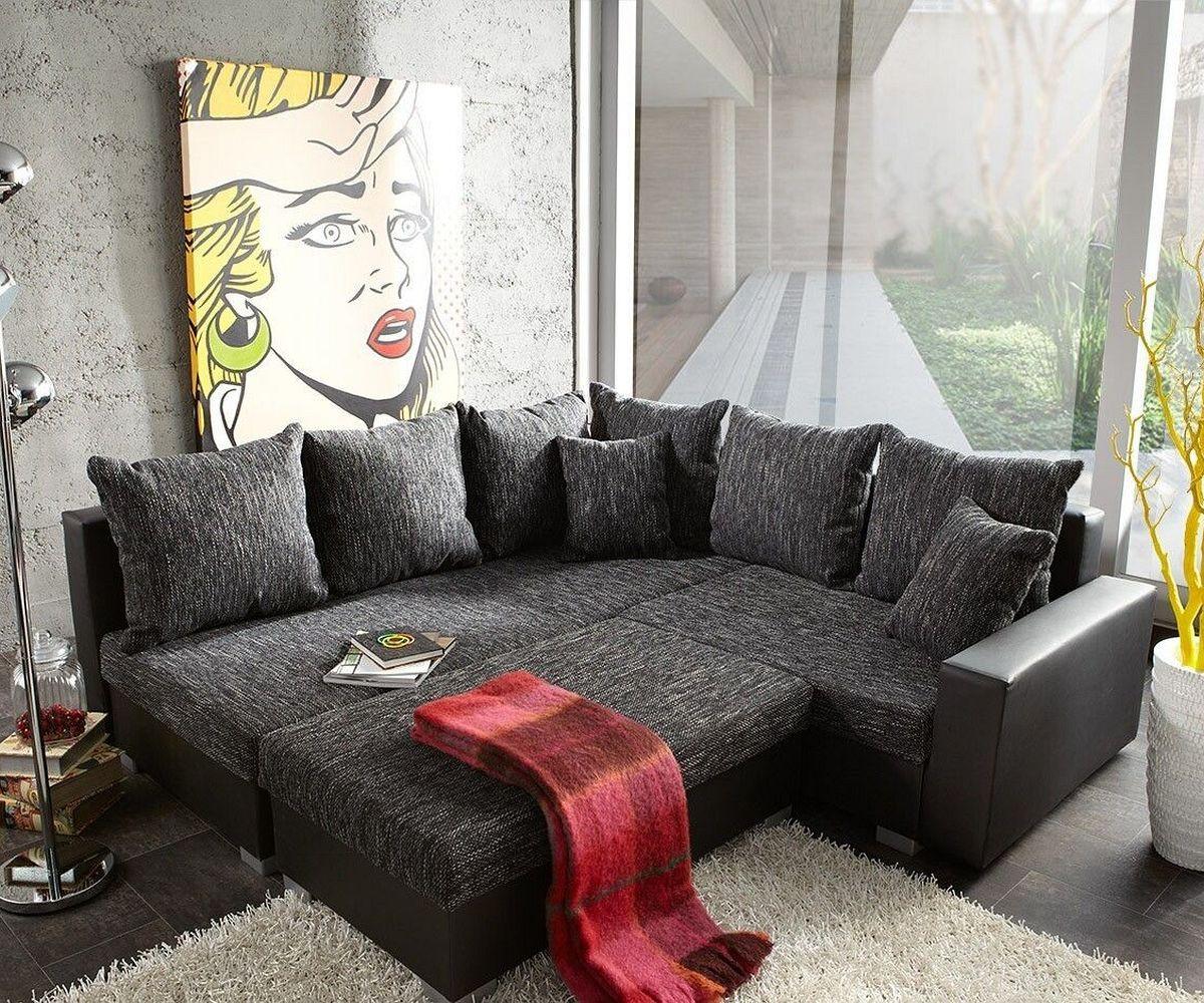 delife ecksofa lavello 210x210 schwarz couch mit hocker. Black Bedroom Furniture Sets. Home Design Ideas