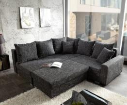 DELIFE Ecksofa Lavello 210x210 Schwarz Sofa mit Hocker, Ecksofas
