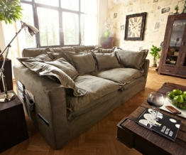 DELIFE Hussensofa Noelia 240x145 cm Braun Couch mit Kissen, Big Sofas