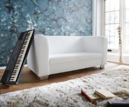 DELIFE Sofa Carlo 160x75 cm Weiss verchromtes Metall 2-Sitzer, 2 & 3 Sitzer