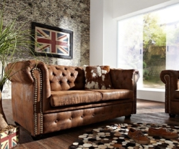 DELIFE Sofa Chesterfield 160x92 cm Braun Antik Optik 2 Sitzer, Chesterfields