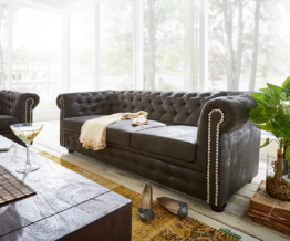 DELIFE Sofa Chesterfield 200x92 cm Anthrazit Antik Optik, Chesterfields