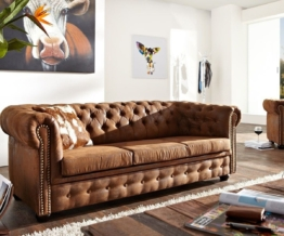 DELIFE Sofa Chesterfield 200x92 cm Braun 3-Sitzer, Chesterfields