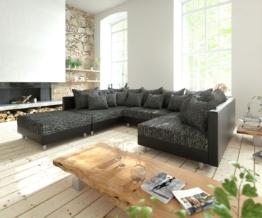DELIFE Wohnlandschaft Clovis Schwarz Modulsofa mit Hocker, Design Wohnlandschaften, Couch Loft, Modulsofa, modular
