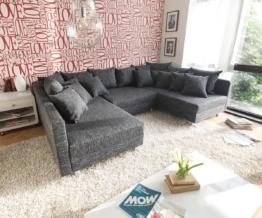 DELIFE Wohnlandschaft Clovis Schwarz Strukturstoff mit Hocker Modulsofa, Design Wohnlandschaften, Couch Loft, Modulsofa, modular