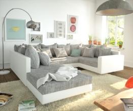 DELIFE Wohnlandschaft Clovis Weiss Hellgrau modular Hocker Armlehne, Design Wohnlandschaften, Couch Loft, Modulsofa, modular