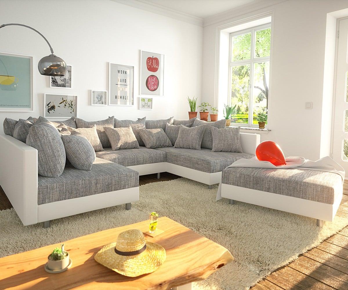 delife wohnlandschaft clovis weiss hellgrau modulsofa hocker design wohnlandschaften couch. Black Bedroom Furniture Sets. Home Design Ideas