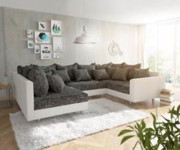 DELIFE Wohnlandschaft Clovis Weiss Schwarz mit Armlehne, Design Wohnlandschaften, Couch Loft, Modulsofa, modular