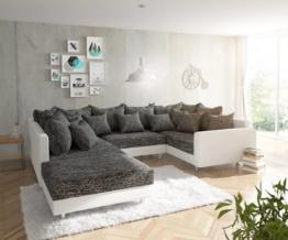DELIFE Wohnlandschaft Clovis Weiss Schwarz mit Hocker und Armlehne, Design Wohnlandschaften, Couch Loft, Modulsofa, modular