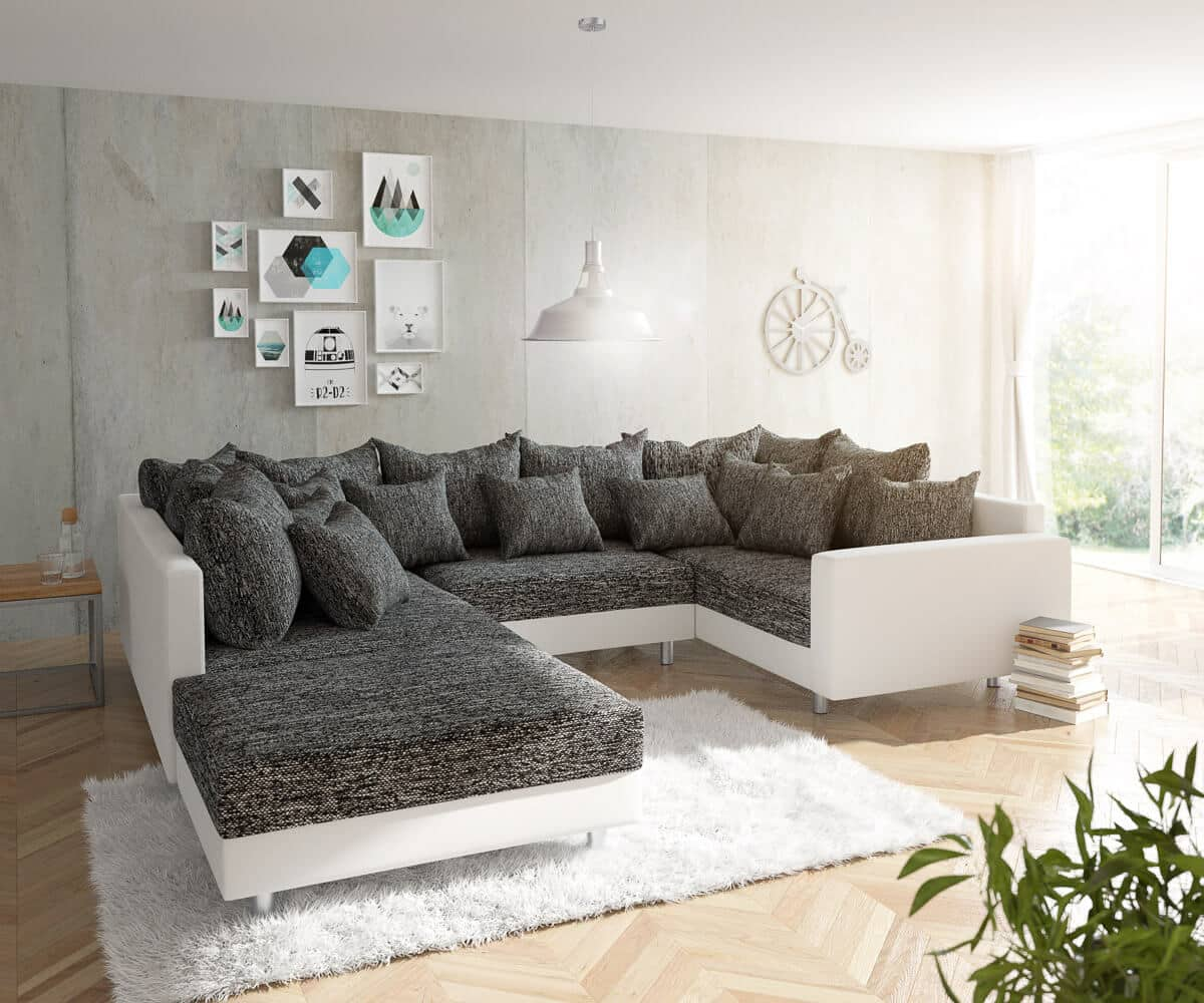 delife wohnlandschaft clovis weiss schwarz mit hocker und armlehne design wohnlandschaften. Black Bedroom Furniture Sets. Home Design Ideas
