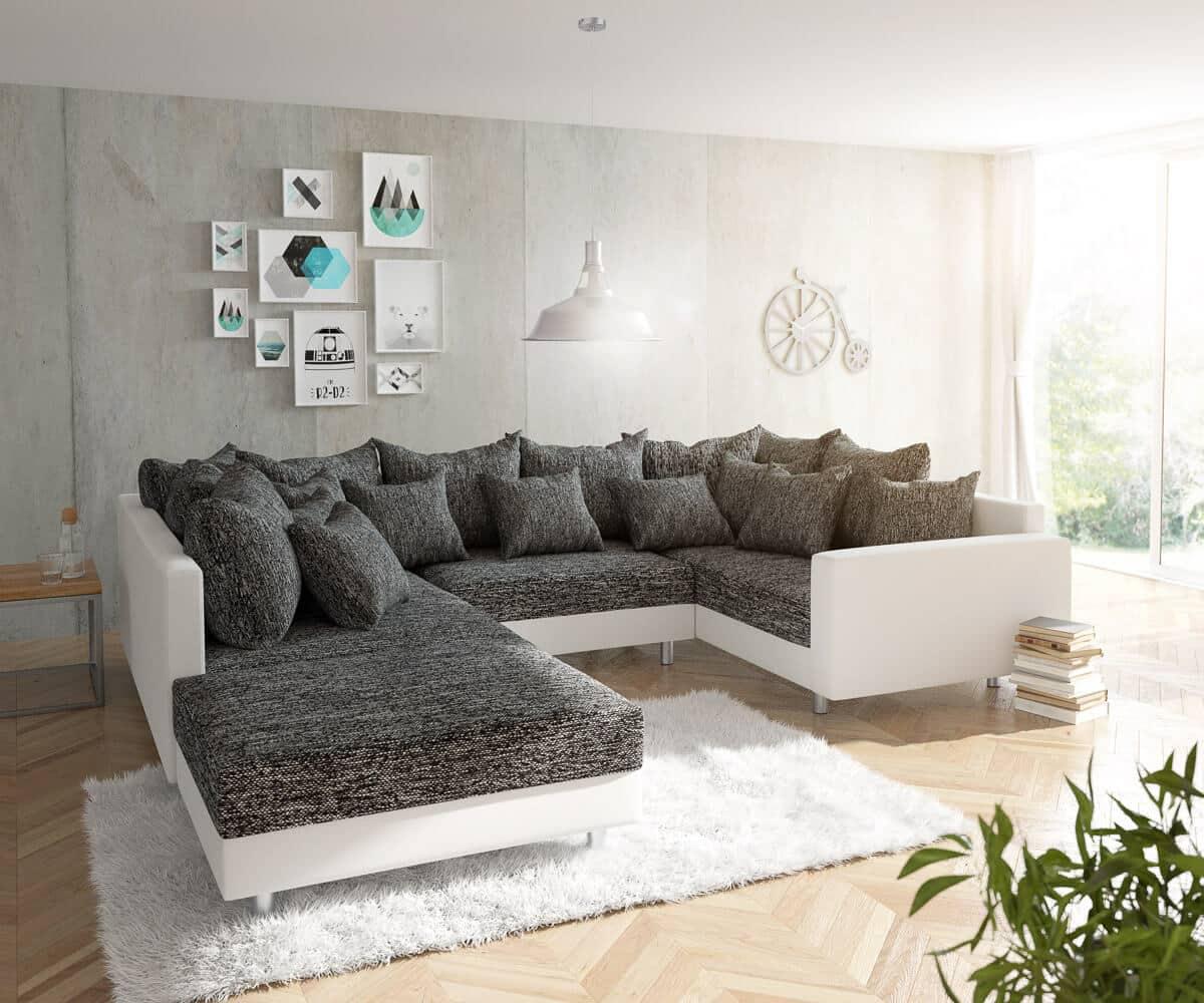 delife wohnlandschaft clovis weiss schwarz mit hocker und armlehne design wohnlandschaften. Black Bedroom Furniture Sets. Home Design Ideas