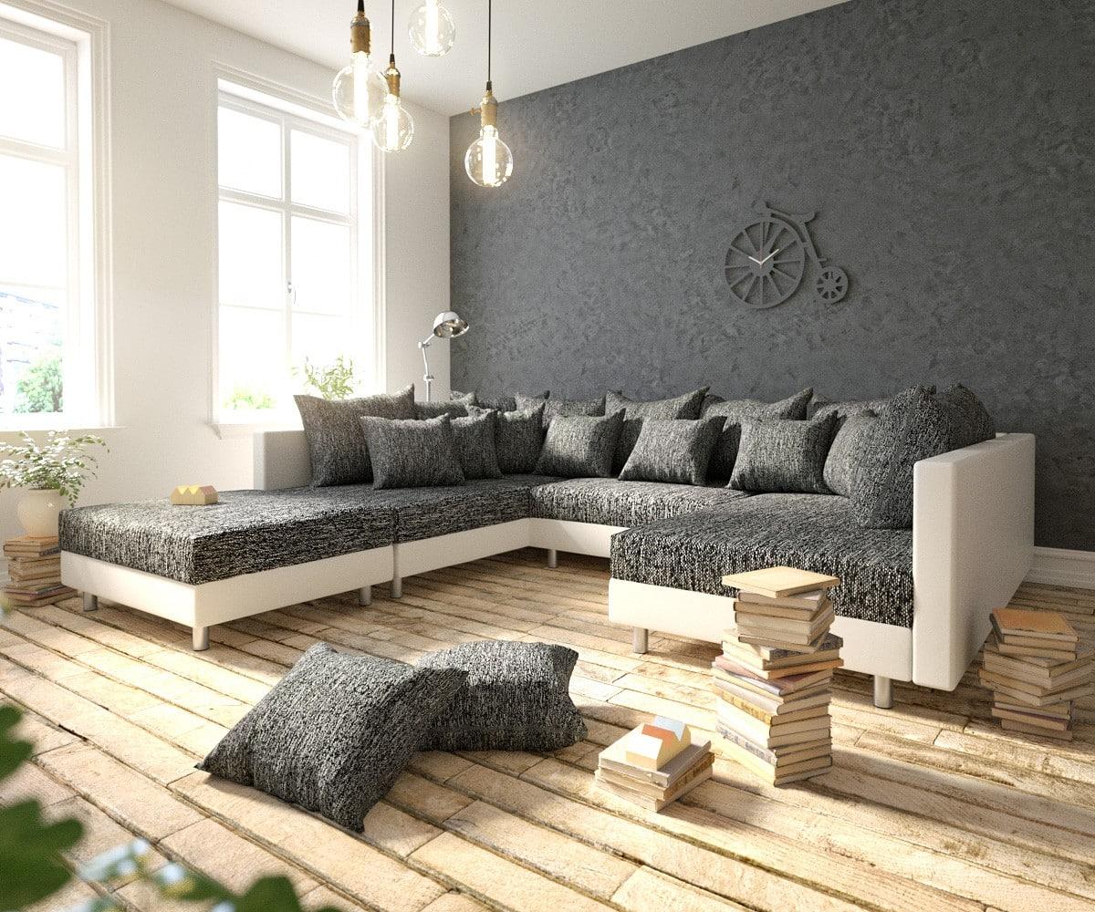 delife wohnlandschaft clovis weiss schwarz modular mit. Black Bedroom Furniture Sets. Home Design Ideas