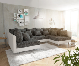 DELIFE Wohnlandschaft Clovis Weiss Schwarz Modulares Sofa, Design Wohnlandschaften, Couch Loft, Modulsofa, modular