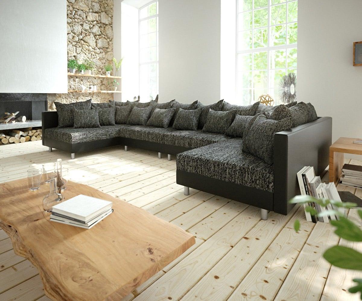 delife wohnlandschaft clovis xl schwarz modulsofa erweiterbar design wohnlandschaften couch. Black Bedroom Furniture Sets. Home Design Ideas