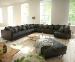 DELIFE Wohnlandschaft Clovis XXL Schwarz Hocker Ottomane Links modular, Design Wohnlandschaften, Couch Loft, Modulsofa, modular