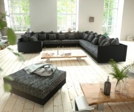 DELIFE Wohnlandschaft Clovis XXL Schwarz modular Hocker Armlehne Ottomane Rechts, Design Wohnlandschaften, Couch Loft, Modulsofa, modular