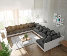 DELIFE Wohnlandschaft Clovis XXL Weiss Schwarz Ottomane Links, Design Wohnlandschaften, Couch Loft, Modulsofa, modular