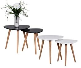 Design Beistelltisch 2er Set SKANDI Form Dreieck Skandinavischer Retro Look Satztisch | Matt Lackierter Wohnzimmertisch mit Holz-Gestell | Wohnzimmer Möbel Tisch | Dreibein Couchtisch 2 Teilig Farbe: Weiß -