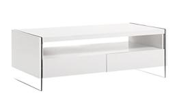 Design Couchtisch Hochglanz weiß Wohnzimmer Ablage Glas Tisch Beistelltisch -