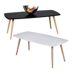 Design Couchtisch SKANDI 110 x 50 x 42 cm Form Rechteckig Skandinavischer Retro Look | Matt Lackierter Wohnzimmertisch mit Holz-Gestell | Wohnzimmer Möbel Tisch | Farbe: Schwarz -
