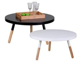 Design Couchtisch SKANDI 80 x 80 x 40 cm Form Rund Skandinavischer Retro Look | Matt Lackierter Wohnzimmertisch mit Holz-Gestell | Wohnzimmer Möbel Tisch | Farbe: Weiß -