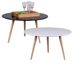 Design Couchtisch SKANDI 80 x 80 x 45 cm Form Rund Skandinavischer Retro Look | Matt Lackierter Wohnzimmertisch mit Holz-Gestell | Wohnzimmer Möbel Tisch | Farbe: Weiß -