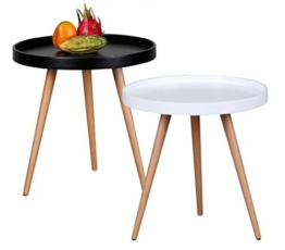 Design Couchtisch SKANDI Ø 50 cm x 50 cm Form Rund Skandinavischer Retro Look | Matt Lackierter Wohnzimmertisch mit Holz-Gestell | Wohnzimmer Möbel Tisch | Dreibein Beistelltisch Farbe: Schwarz -