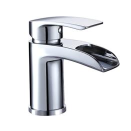 Design Kurzer Wasserfall Waschtischarmatur Einhebelmischer-Waschtischbatterie Bad Armatur Wasserhahn für Waschbecken -