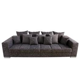 Design XXL Sofa BIG SOFA ISLAND in grau charcoal Strukturstoff inkl. Kissen -