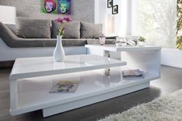 DuNord Design Couchtisch Sofatisch LEVEL 100cm weiss Hochglanz Retro Design Tisch Lounge Möbel -