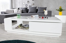 DuNord Design Couchtisch Sofatisch TREND 120cm weiss Hochglanz Design Tisch Lounge Möbel -