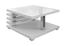 E-com Oslo Couchtisch, 60 x 60 cm, Weiß hochglanz -