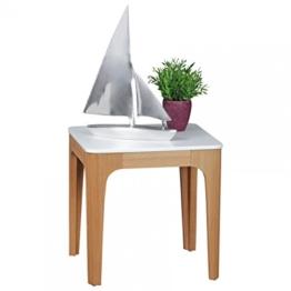 FineBuy Beistelltisch NORTH 50 x 50 x 50 cm | Wohnzimmertisch Skandinavisch aus MDF Holz | Couchtisch Tischplatte weiß mit Gestell in Eschefurnier | Anstelltisch Retro quadratisch eckig Skandi -