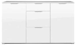 Germania 0268-84 Sideboard mit Hochglanz-Fronten und Oberboden GW-Event in Weiß, 144 x 84 x 40 cm (BxHxT) -
