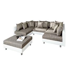 Großes Design Sofa LOFT XXL weiß grau Strukturstoff inklusive Hocker -