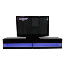 Homcom® TV Lowboard LED Fernsehtisch TV Board Fernsehschrank mit Beleuchtung Wandmontage, MDF, hochglanz, weiß/schwarz, 180x40x30cm (schwarz) -