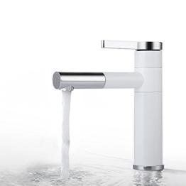 Homelody 360°drehbar Wasserhahn bad mit Lack beschichtet Waschtischarmatur Waschbeckenarmatur Heiß und Kalt-Wasser Badarmatur Einhebelmischer Waschbecken Waschtisch armatur für Bad -