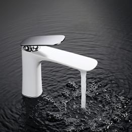 Homelody Elegant Wasserhahn bad Waschtischarmatur Weiss Waschbecken Waschtisch Armatur Badarmatur Waschbeckenarmatur Einhebelmischer für Bad -