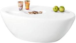 Links 20801320 Couchtisch weiß hochglanz Beistelltisch Wohnzimmer Tisch mit Ablagemulden 108x60 -