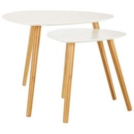 LOMOS® No.2 Beistelltisch (2er-Set) in weiß aus Holz im modernen Retro-Look -