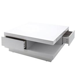 MCA Couchtisch Abby, Wohnzimmertisch Beistelltisch mit Schubladen, hochglanz weiß 30x85x85cm -