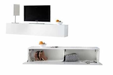 Moderner Design CUBE weiß Hochglanz Regal Wandregal TV Board made in Italy Hängeschrank -