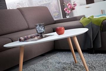 Retro Couchtisch SCANDINAVIA MEISTERSTÜCK 75cm weiß Buche Beistelltisch nierenförmig Holztisch skandinavisch -