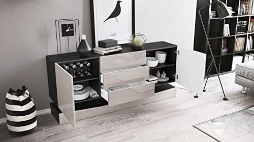 sideboard kommode city korpus in schwarz matt fronten in schwarz hochglanz inkl led. Black Bedroom Furniture Sets. Home Design Ideas