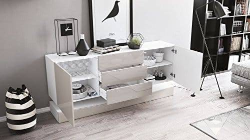 sideboard kommode city korpus in wei matt fronten in sandgrau hochglanz m bel24 online. Black Bedroom Furniture Sets. Home Design Ideas